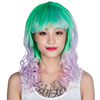 Fashion women straight synthetic lace wigs halloween rainbow wig