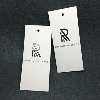 New Design Custom Garment Embossed UV  Logo Cardstock Hang Tag with string