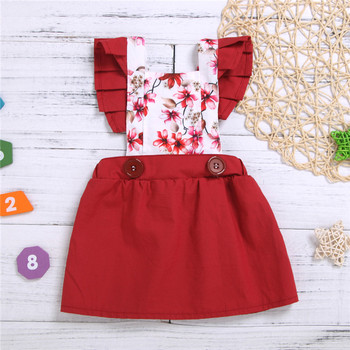 baby frocks designs girl princess party dresses cotton sleeveless red Floral kids girl dress