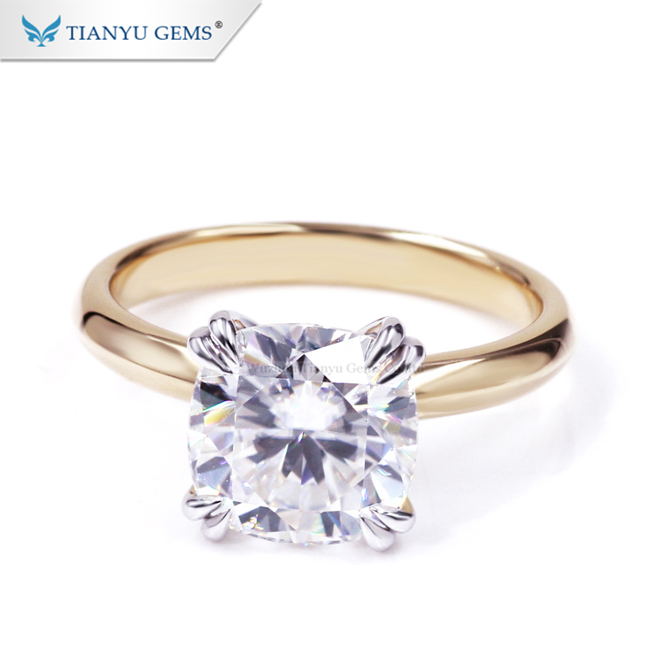Tianyu gems Two Tones 14K White& Yellow Gold Women Lady Ring 3.5CT Forever one Cushion Moissanite Ring