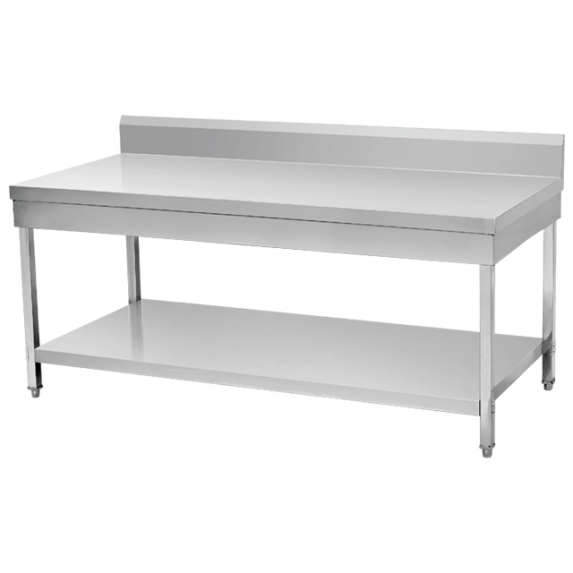 Stainless Steel Commercial Kitchen Worktable With Backsplash Custom Made Workbench Work Bench