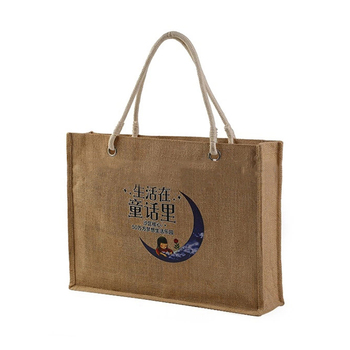Wholesale handle natural jute shopping tote bag