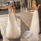 ZH2145Q Boho Lace sheer deep V Neck Wedding Dresses lace Appliqued Spaghetti Strap Backless tulle Bridal Gown 2019 plus size