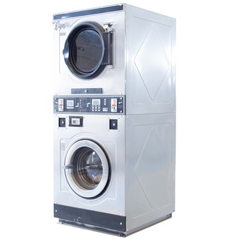 Stacked washer and dryer, commercial laundry equipment, washing machine, self service, coin operated