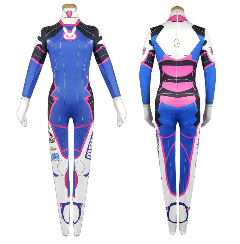 ecowalson Overwatch OW D. Va D Va Costume Game Cosplay Halloween Party Zentai Jumpsuit