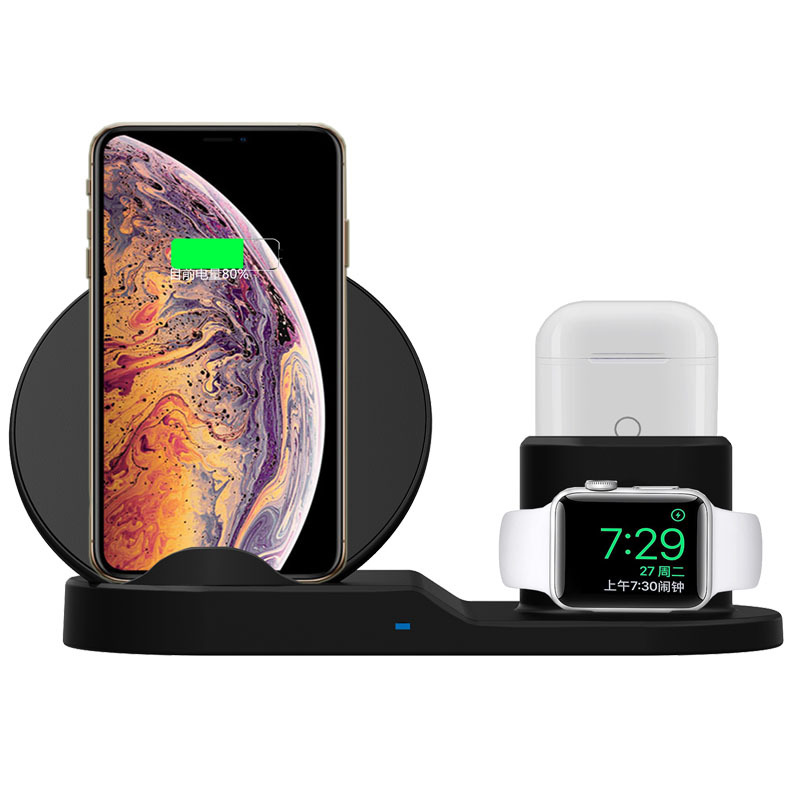 2019 Baru Kedatangan 3 In 1 Wireless Charger Stand untuk iPhone 8 X Charger Dock Station Charger untuk Apple Earphone watch Series