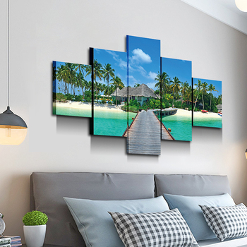 5 panel modern sea view HD print large size beach exclusive coconut tree photo canvas wall art decor
