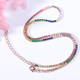 Rose Gold Plated Colorful Rainbow Stone Diamond 925 Silver Tennis Bracelet