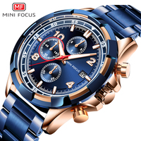 MINI FOCUS 0198G Men Fashion Military Dress Analog Watch 3 Sub-dials Multifunction Stainless Steel Strap BLUE watch men luxury