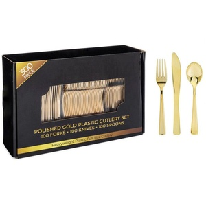 300 Pieces Gold Plastic Silverware Disposable Flatware Set-Heavyweight Plastic Cutlery- 100 Forks, 100 Spoons, 100 Knives