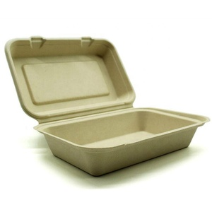 9*6'' Eco Friendly Compostable Bagasse Lunch boxes Single Compartment  clamshell food containers