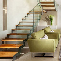 Australian Style High Quality Indoor Glass-Wood Staircase Floating Straight Stair