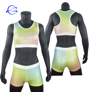 Women Sportswear Dance Bra Breathable Custom Design Metallic Material Rhinestone Youth Girls Cheer Uniforms