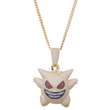 AP22533 Custom wholesale real mens hip hop necklace jewelry Ghost pendants dropshipping