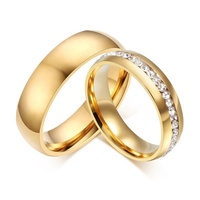 New fashion plated shiny crystal male female jewelry 6mm width stainless steel gold wedding rings set for men and women