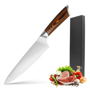 8 Inch High quality Stainless Steel wood handle Gift Box| Professional Chopping Kitchen Slicer Chef Knife