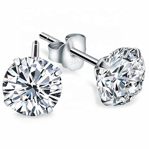 Free Shipping Promotion Real 925 Sterling Silver Stud Earring Round Zircon CZ Fashion four claws Jewelry