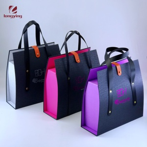 luxury matte black cardboard box with pu handle for shoe/Apparel/Cosmetic/Hair Extension/candle packaging