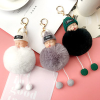 Best Selling Supply Colorful Plush Cute And Sweet Baby Sleeping Face Fur Keyring Keychain Women Bag Accessories