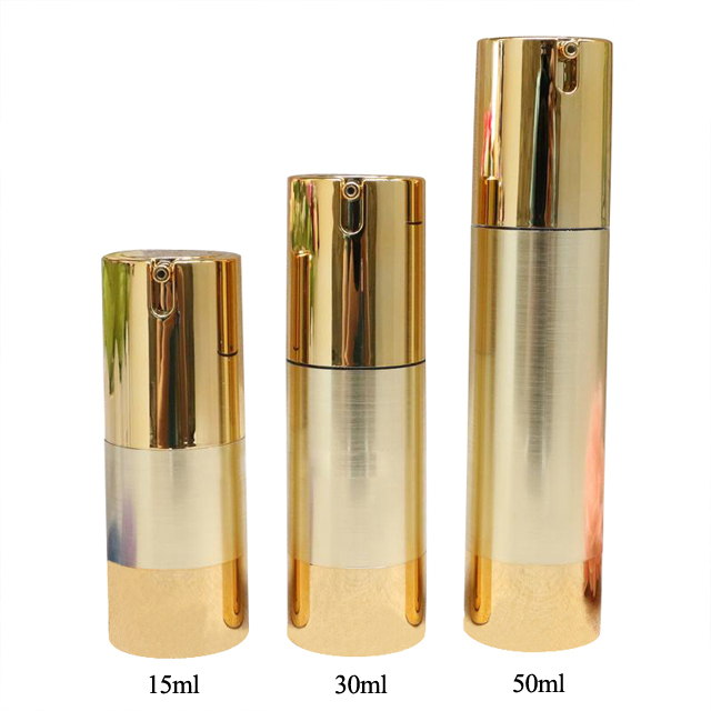 50 ml 30 ml 15 ml luxus silber gold aluminium kosmetik spray airless dispenser pumpe matt plastikflasche großhandel