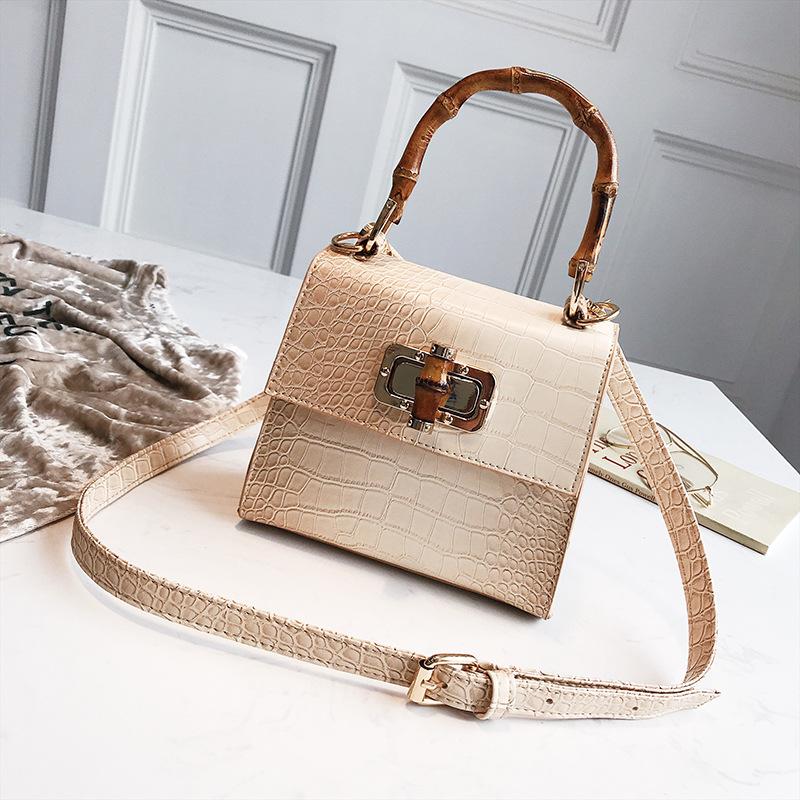 Crocodile pattern trend leather handbag for woman new summer fashion crossbody bag strap bamboo section shape shoulder bag
