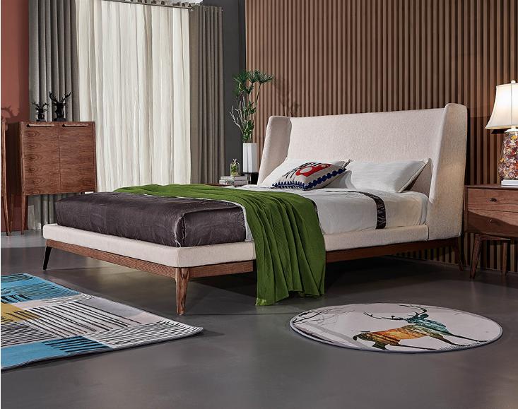 Moderno diseño nórdico conjunto de muebles de dormitorio de tamaño de madera doble de la tela de la cama