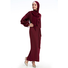Puff sleeves long adress women comfortable abaya dress