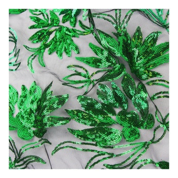Wholesale Plants tablecloth light green 3mm sequin fabric