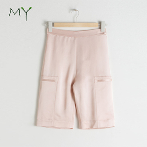 Premium high quality pink satin bermuda shorts for women