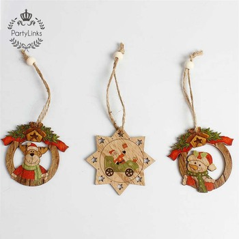 Yiwu Wood Ornament Crafts Hanging Wooden Christmas Tree Decoration