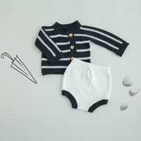 CHH50 Spring 2019 baby/baby boy/girl baby striped sweater cardigan top and trousers cotton suit