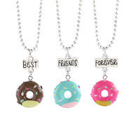 new arrival child necklace 3 piece set necklace resin Simulation Donut Best Friends, 3D cute Friendship Necklace set for child/