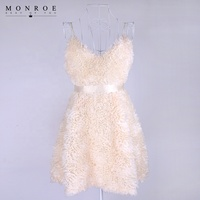 Women White Puffy Evening Party Dress Feather Sling Short Cocktail Dress