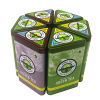 custom printing triangular tea tin box