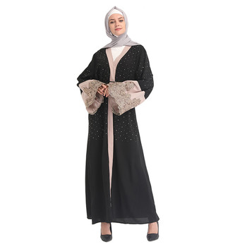 Stone High Quality Fashionable Pakistan Abaya Black Arabic Thobe Jubbah Islamic Clothing With Pearls Muslim Outfit