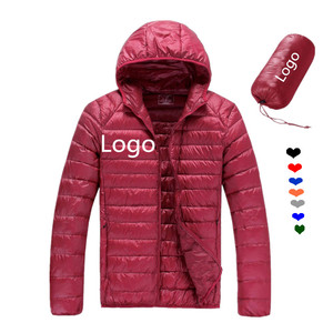 Women Basic Outer Hooded Lightweight Zipper 90% Down 10% Feather Korean Goose China Duck Mens Light Down Jacket For Winters Men