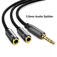 HiFi 3.5MM 2 in 1 Double Jack Audio Adapter Mircophone Headphone Splitter