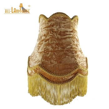 Antique Handmade Velvet Empire Lampshade with Tassel On Bottom for Indoor Lighting Decoration