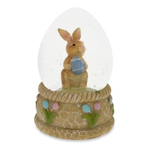 Polyresin Bunny with Easter Egg Water Globe
