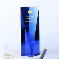 Blue crystal trophy honorable mention conference gift sports trophy competition prize free engraving gift box