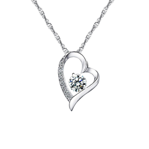 Fashion Heart Style Zircon Stone 925 Sterling Silver Pendant Necklace