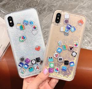 Bling bling IOS App Icon Glitter Quicksand Liquid Phone Case For iPhone X  XS MAX XR 8 7