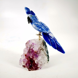 Natural lapis lazuli bird and Amethyst cluster hole Hand Carved Healing