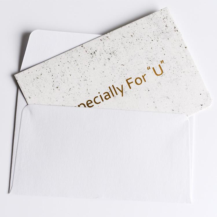 Hermosa de oro estampado en caliente doble tarjetas de felicitación con sobre