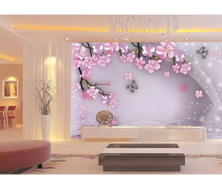 الوردي زهرة صغيرة Hd 3d زهرة جداريات لغرفة النوم ورق حائط