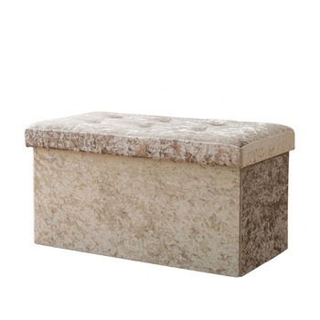 Brown folding storage ottoman with faux leather