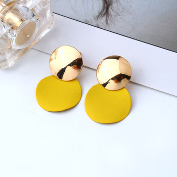Simplicity Korean Style Womens Dangle Drop Earrings Fashion Jewelry Gold Metal Round Pendientes Geometric Earrings