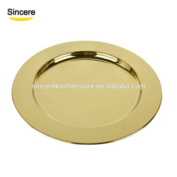 Gold charger plate stainless steel  wedding plates 30/33cm