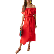 2019 seaside holiday new solid color word collar ruffled off-the-shoulder beach long dress summer girl