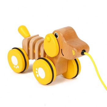 New design children play cartoon anmimal dog push pull toys toddler wooden safety toys